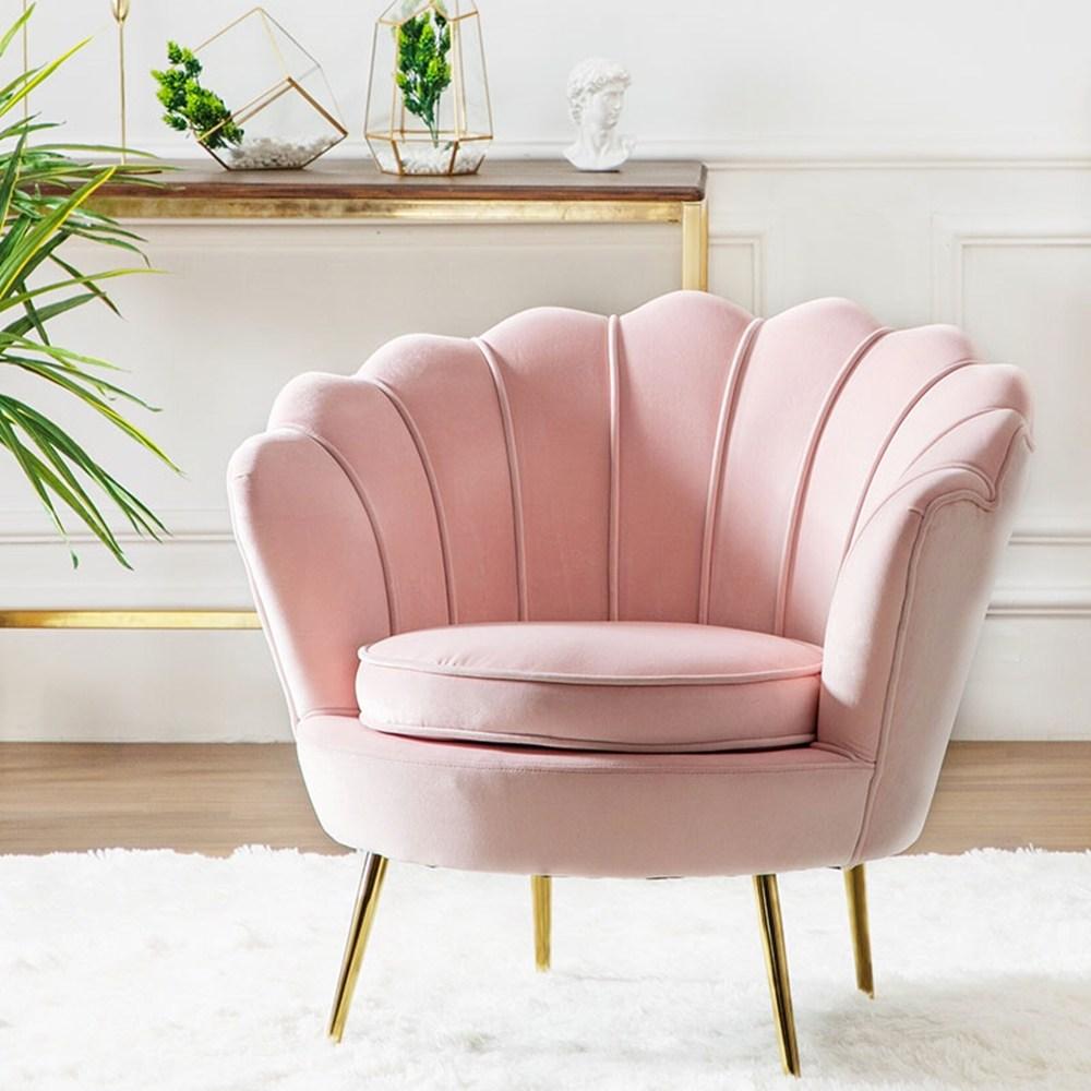 1인용 북유럽 골드체어 벨벳의자 네일샾 패디 카페 인테리어 쇼파 인테리어의자, 핑크