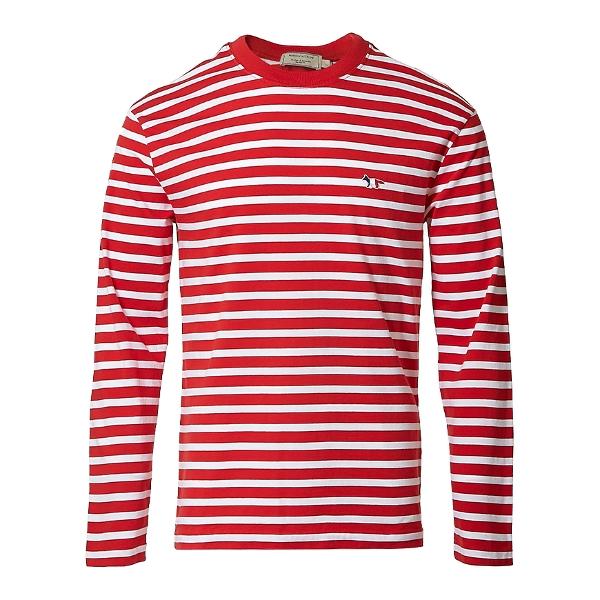 MAISON KITSUNE 트리컬러 폭스 패치 스트라이프 티셔츠 AU00105KJ2004 REWH