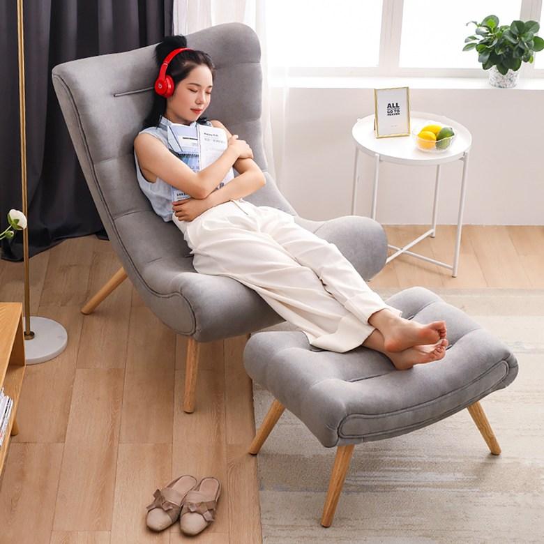 독서의자 1인용 안락의자 수유 무중력 소파, 프리미엄 그레이 + 페달