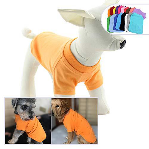 2018 애완 동물 의류 개복 빈 티셔츠 티셔츠 중소형 중형견 용 100 % 코튼 개 티즈 클래식 (M 오렌지) 2018 Pet Clothing Dog Clothes Blank, 1set