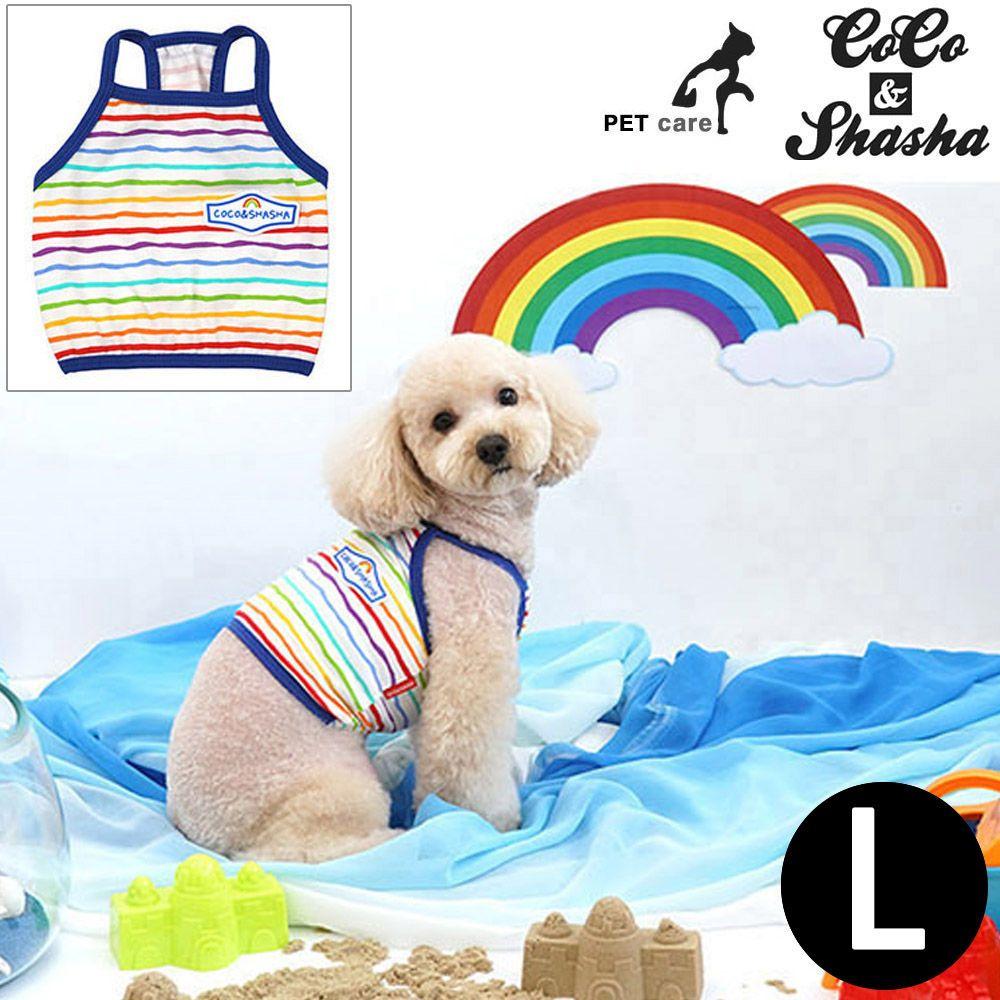 YJ_72739 + 강아지 티셔츠 +TWON#+ 레인보우 크롭 티셔츠 (블루) (L)
