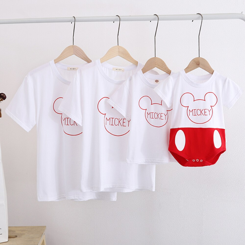 브랜드 전문 점 6 개 월 동안 아 기 를 위 한 백일 사진 여름 복장 2020 트 렌 드 가족사진 미 키 모자 1 가구 3 벌 아기 하 1 가구 흰색 (가슴 에 미 키 마우스) 대인 S