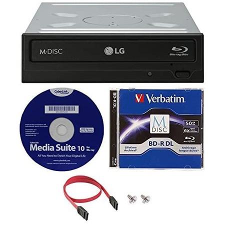 LG WH16NS40K 16X 블루레이 BDXL M-DISC DVD CD 내장 라이터 드라이브 번들 무료 50GB Verbatim M-DISC B, 상세 설명 참조0