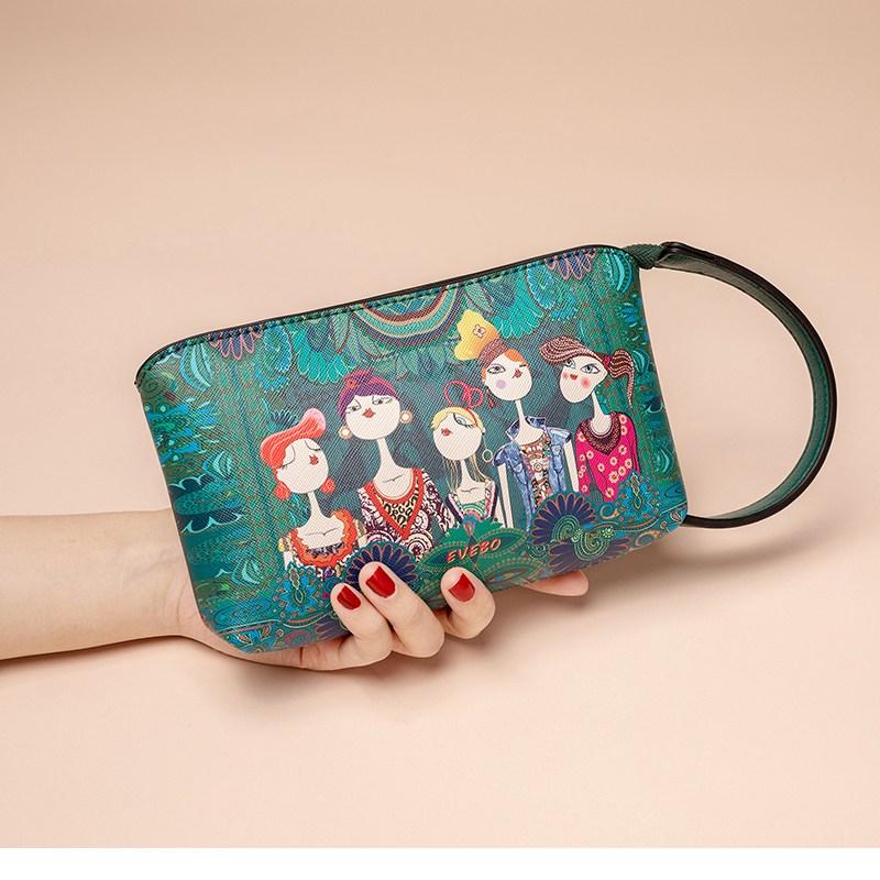 티피 새로운 패션 인쇄 여성 클러치 동전 지갑 휴대 전화 가방