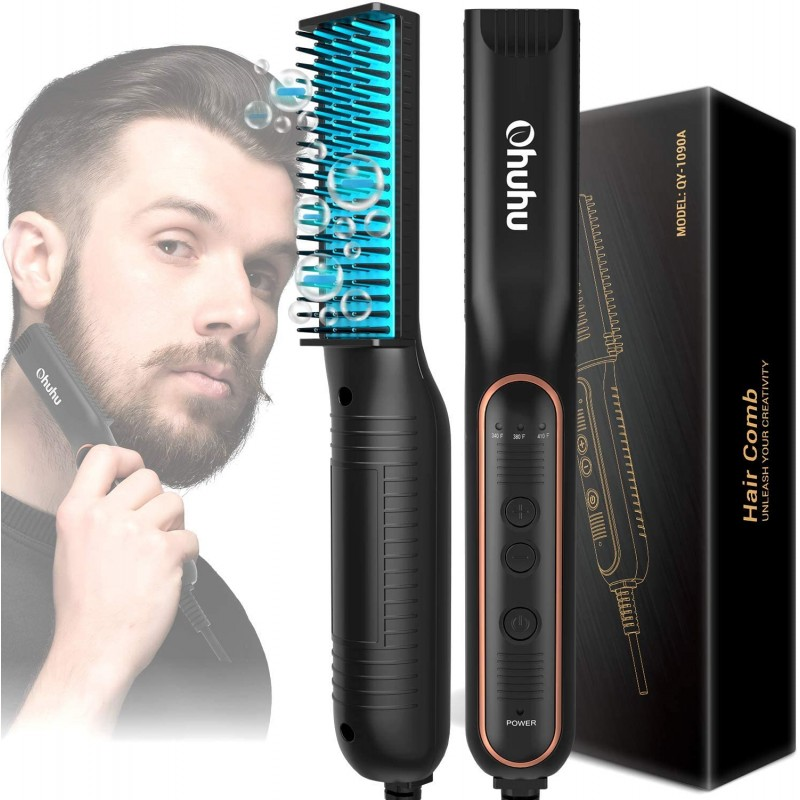 남성용 턱수염 고르기 오우후 이온난방 수염 브러시 온열 수염 고르기 방지 기능이 있는 수염 고르기 빗 남성용 헤어 스타, 단일옵션, 단일옵션
