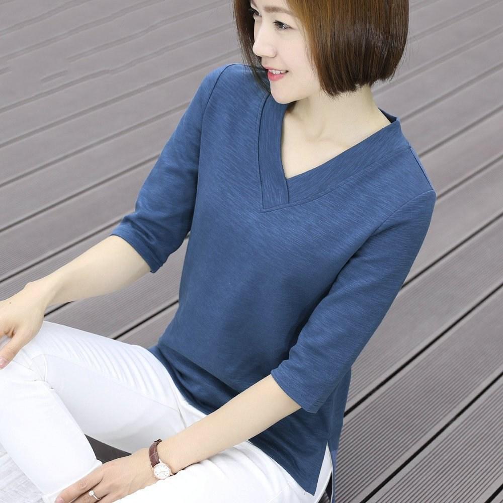 샵솔베이지 6가지색상 봄여름 코튼 브이넥 탄력티셔츠(M-4XL) 7부티셔츠