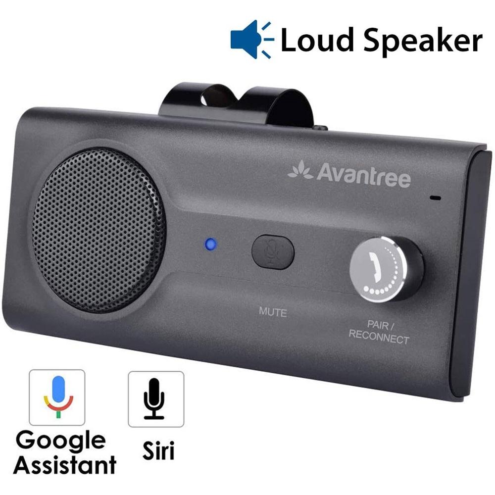 Avantree CK11 핸즈프리 블루투스 차량용 키트 시끄러운 스피커폰 Siri 지원 Google 어시스턴트 및 모션 자동 켜기 끄기 볼륨 노브 차량용 무선 핸즈프리
