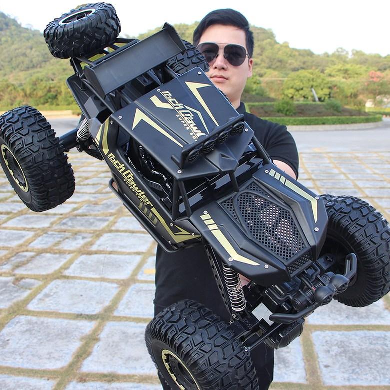 해외직구 4륜 구동 산악 드리프트 오프로드 지프 RC카 밀리터리 방수 사륜, 블랙 50cm 대형 배터리 1개
