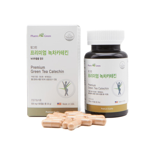 팜그린 프리미엄 녹차카테킨 칼로리커트 살빠지는약 체지방분해약 다이어트 500mg x60캡슐, 1개, 500mg x 60캡슐