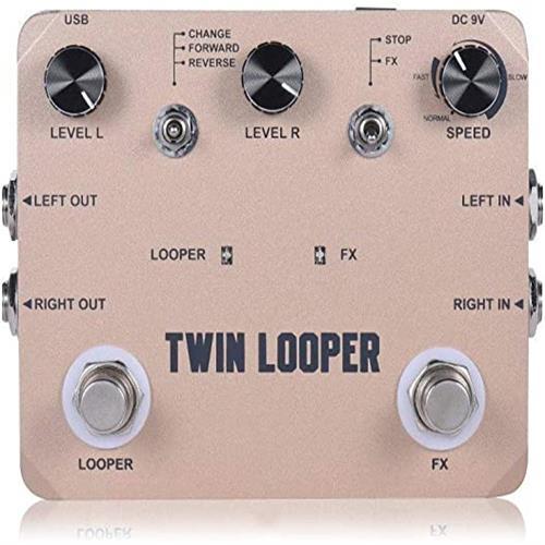 시간을 반복 10 분 EXCLVEA 멀티 이펙트 프로세서 풀 메탈 쉘 트윈 루퍼 기타 효과 페달 루프 스테이션 (색상 : 골드 크기