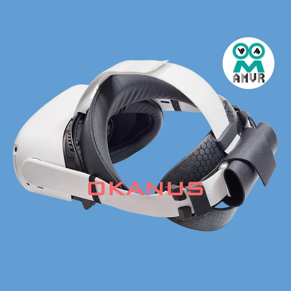 오큘러스 퀘스트2 헤일로 스트랩 + TPU 반원 패드 AMVR + 보조배터리 홀더 악세사리, 블랙
