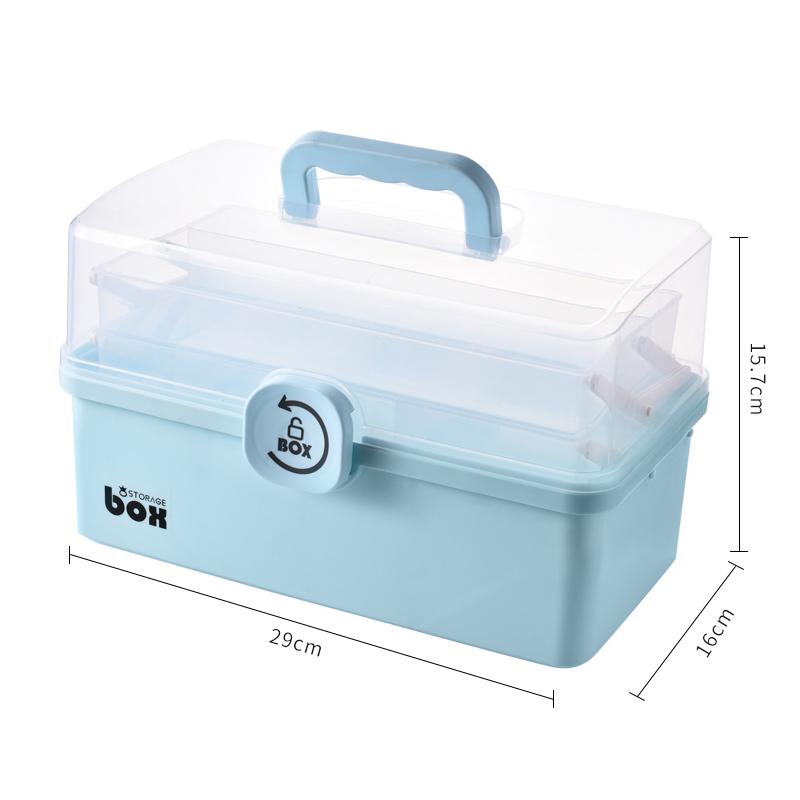 주식회사 어퍼스팟 정리함수납박스 치료하다 약상자 가정용 대용량 레이어드 간편 수납함 라지 번 토트 먼지 방지 구급 약품 홈, 중간사이즈 (블루 ) (POP 5649999223)