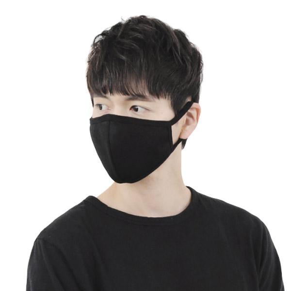 3D입체 면 마스크 1+1 (블랙+블랙) 연예인 블랙 검정 패션, 1set