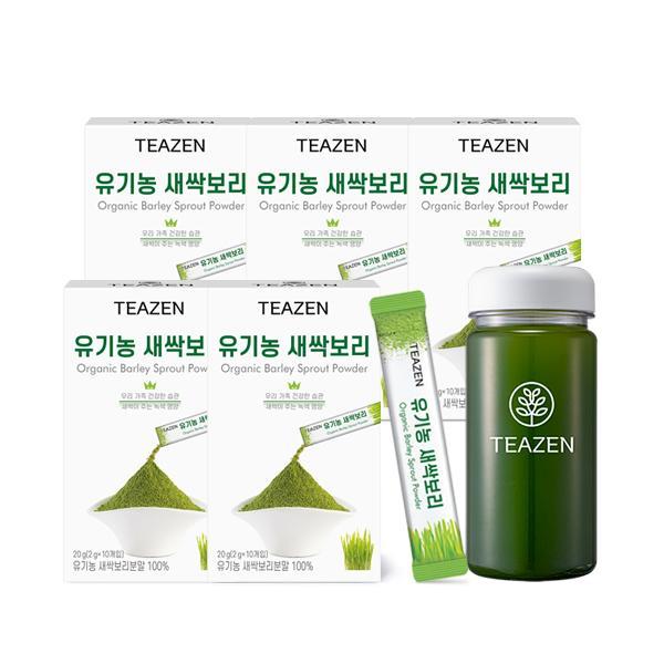 [핫트랙스] 티젠 티젠 유기농 새싹보리 분말 2주분 (50스틱+보틀), 총 수량