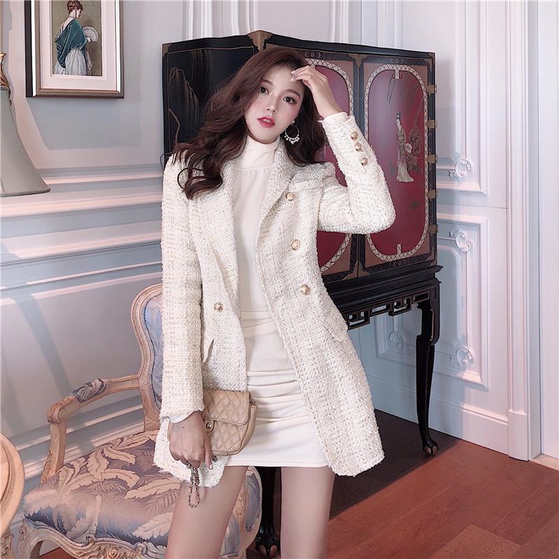 CNH 여자 여성 봄 가을 간절기 타이트 롱 트위드자켓 코트
