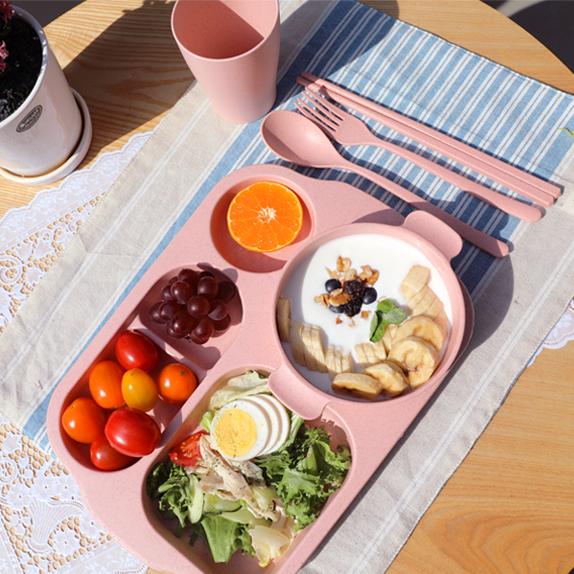 진주상사 다이어트 식판 가정용 성인 밀짚 브런치 (+6종 식기세트 포함), 베이지♥