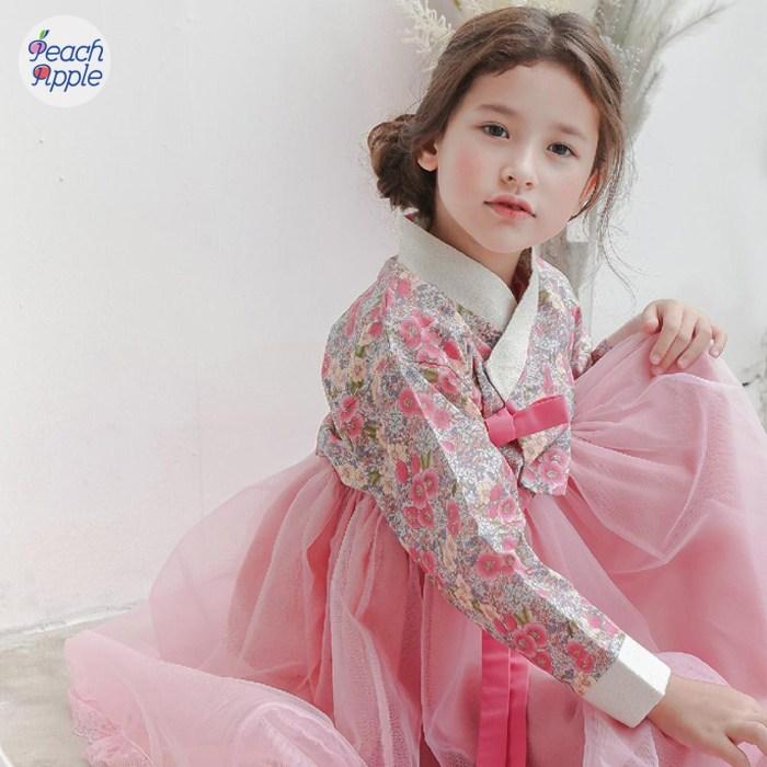 피치애플 여아 아기 유아 아동 고급생활한복 드레스원피스 저고리세트-17-124240138