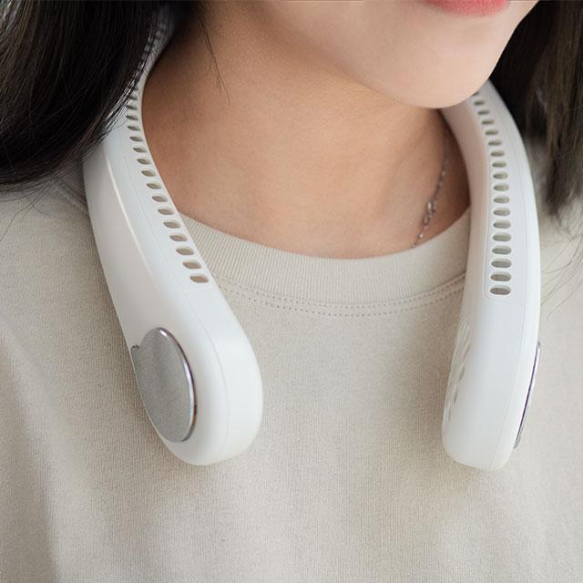 반비야 휴대용 넥밴드 선풍기 무선 목걸이 넥, M6화이트