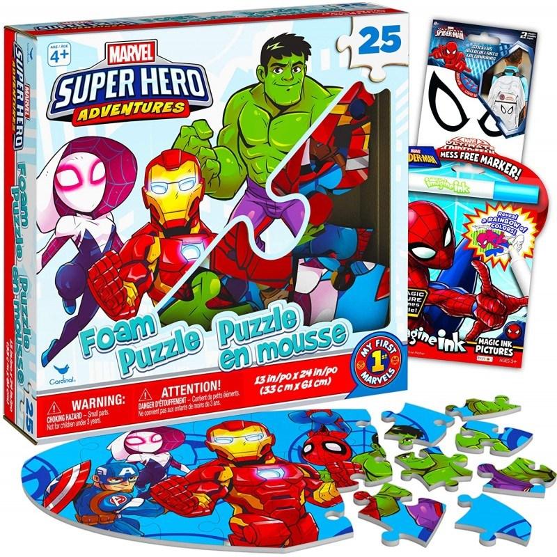 디즈니 마블 슈퍼히어로 어드벤처 퍼즐 세트 마블 퍼즐 번들 - 스파이더맨 스티커와 컬러링 북이 있는 25피스 슈퍼히어로 폼, 상세참조, 상세참조