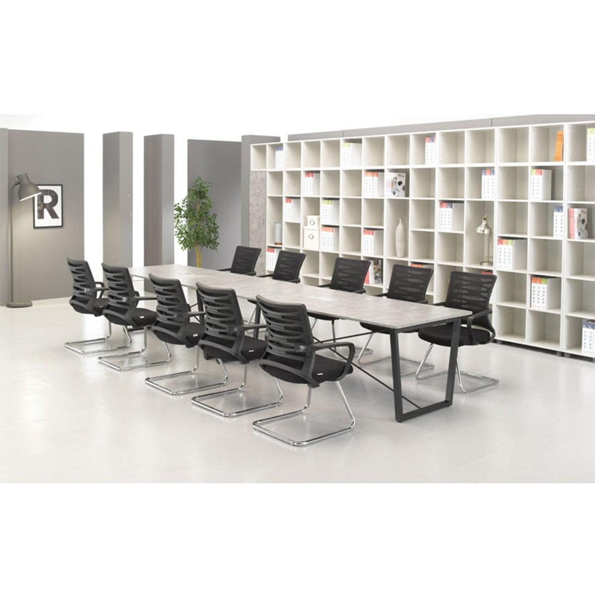 덴디 회의용 테이블 1200/1500/1800/2400, 콘크리트, 화이트