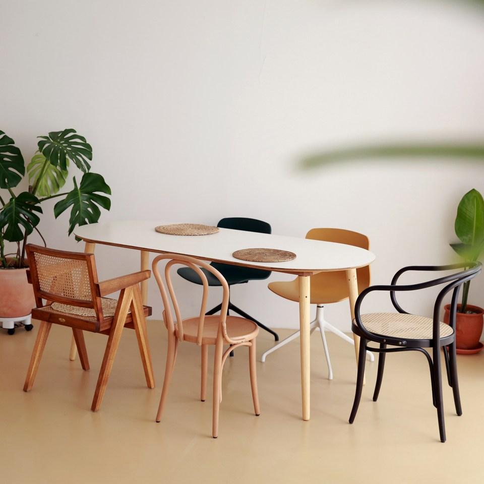 체나레 HPM 멜라민 화이트 타원형 테이블1600 식탁