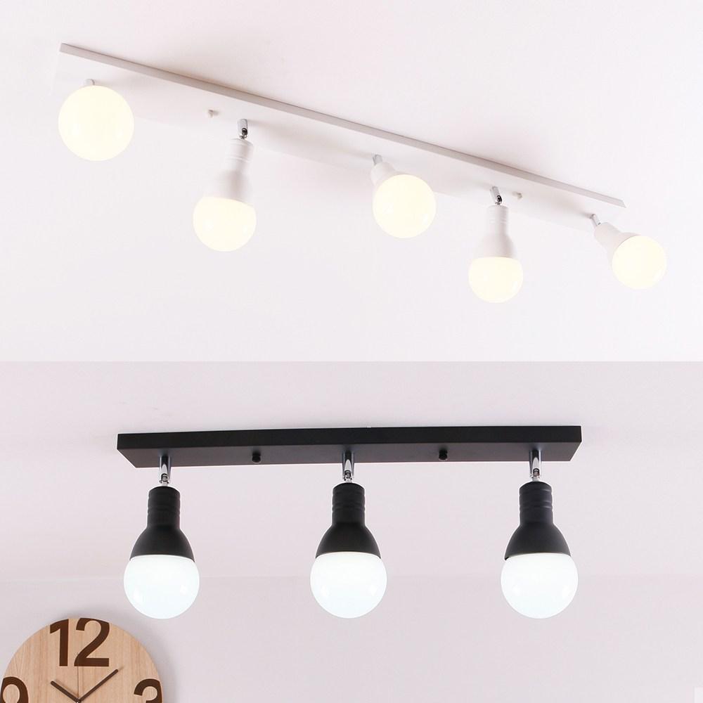 인테리어조명 송이 3등 5등 직부등 LED램프포함 주방등, 송이3등직부블랙+LED롱볼구12W주광색