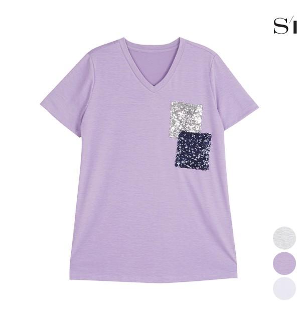 씨 사각 비즈 포인트 브이넥 티셔츠 (SXIBE2831)_F9B5