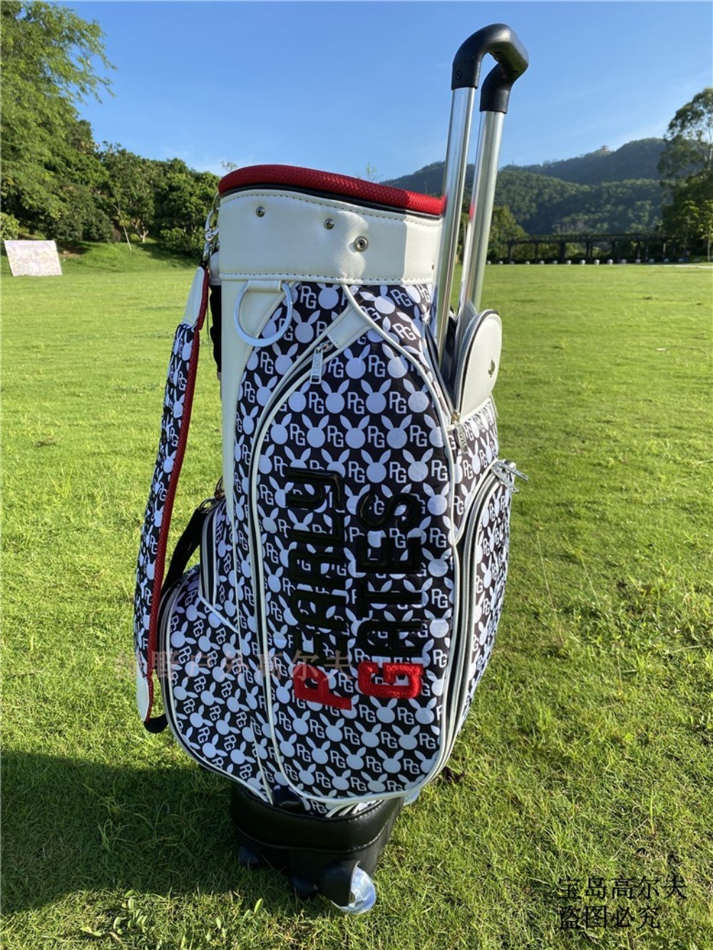 PEARLYGATES 파리게이츠 골프백 바퀴형 남녀공용 이동가방 캐디백, 검정