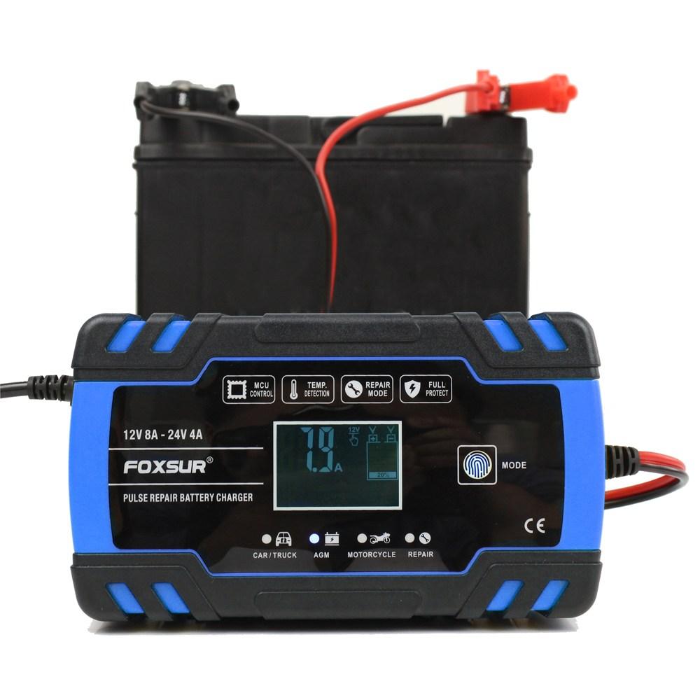 FOXSUR 펄스 자동차 배터리 충전기 12V 24V 블루<당일출고/최소5-9일 수령가능/공휴일제외>