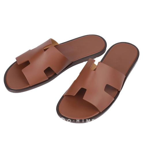 [에르메스] 신발 슬리퍼 레더 이즈미르 GOLD 42.5사이즈