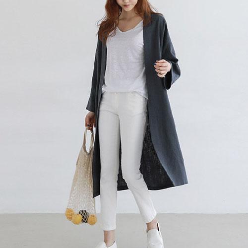 알리팡(Alipang) 여성 린넨 롱가디건 로브 사이즈 S-2XL 재킷 가디건 LZ8321