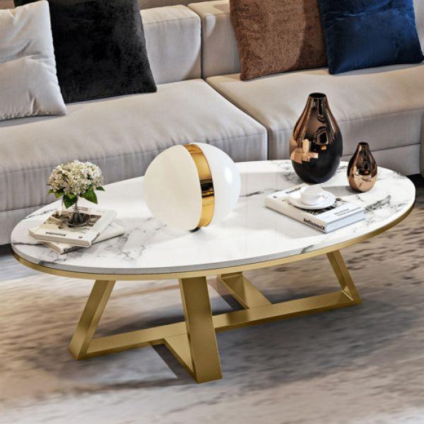 북유럽 고급 식탁 타원형 대리석 거실테이블 이케아 커피테이블, 골드120x60x45