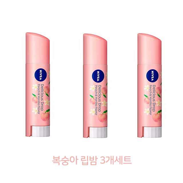 nivea 일본한정 니베아 복숭아 립밤 입술 보습 케어, 3개