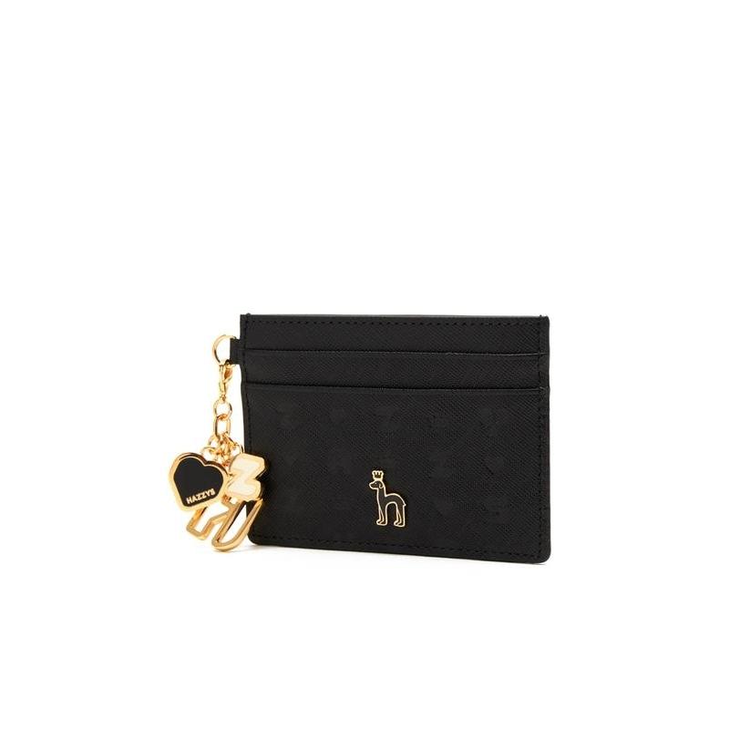 헤지스 악세서리 여성 20FW 블랙 가죽 레터링 로고장식 카드지갑 HIHO0F535BK