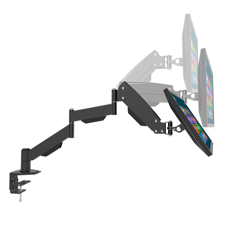 Dongji 3단 모니터암 360도 회전 모니터 스탠드 거치대 주식용 사무실 PC 게임용 2~9kg, L155》 데스크탑 공기압 베어링 2-9 kg