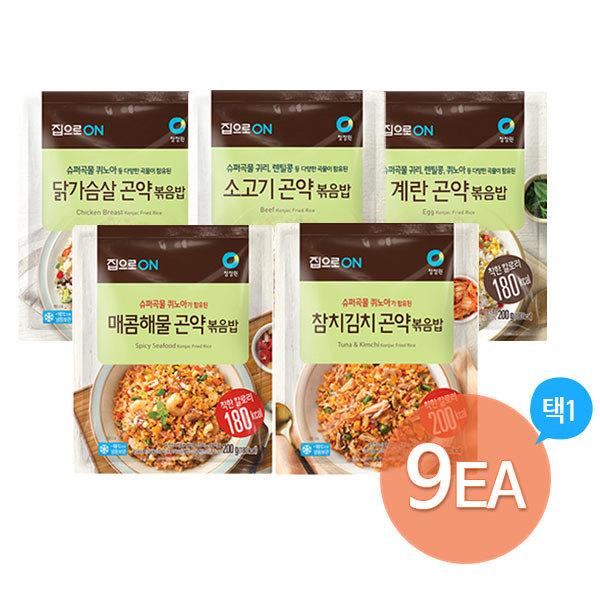 [청정원] 라이틀리 곤약볶음밥 9개(계란/닭가슴살/소고기/해물/참치), 선택1:3. 곤약볶음밥200g x 9개 (매콤해물3+참치김치3+계란3)