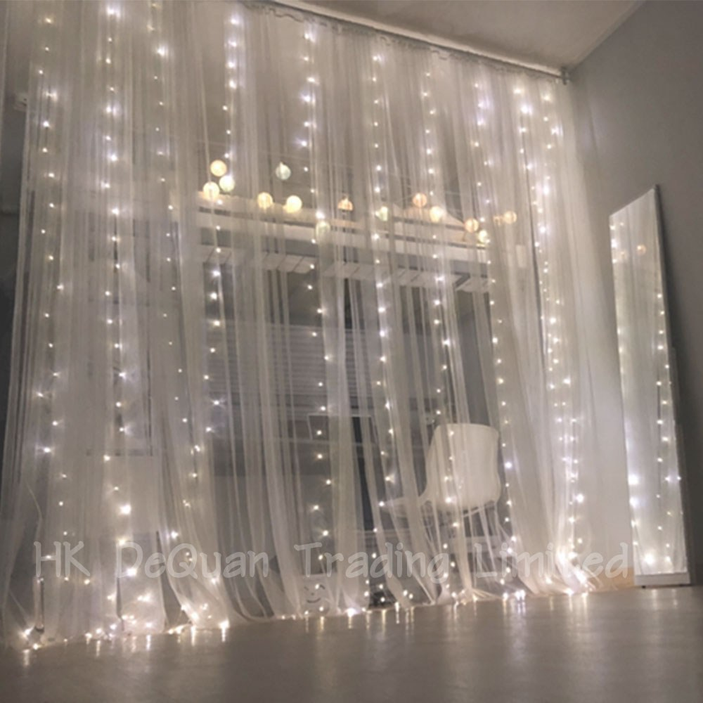 HK DeQuan 저희 제품에는 후크가 포함되어 있습니다 LED 와이어 전구 커튼조명 USB 리모컨 타입 방수형, 3m 300구흰색(여러 개 구매하시면 더 예뻐요)