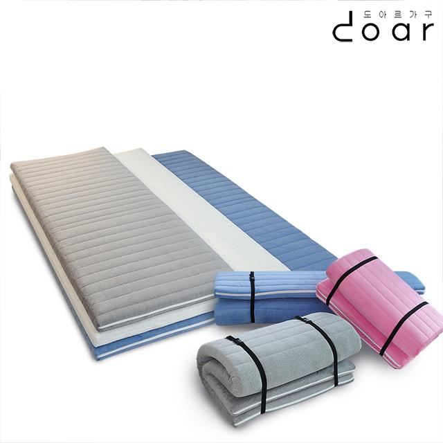 도아르 접는 1인용 접이식 바닥 토퍼 매트리스 자취 두꺼운 요매트 바닥용 손님용 수면 매트, 50T 벨로아 블루