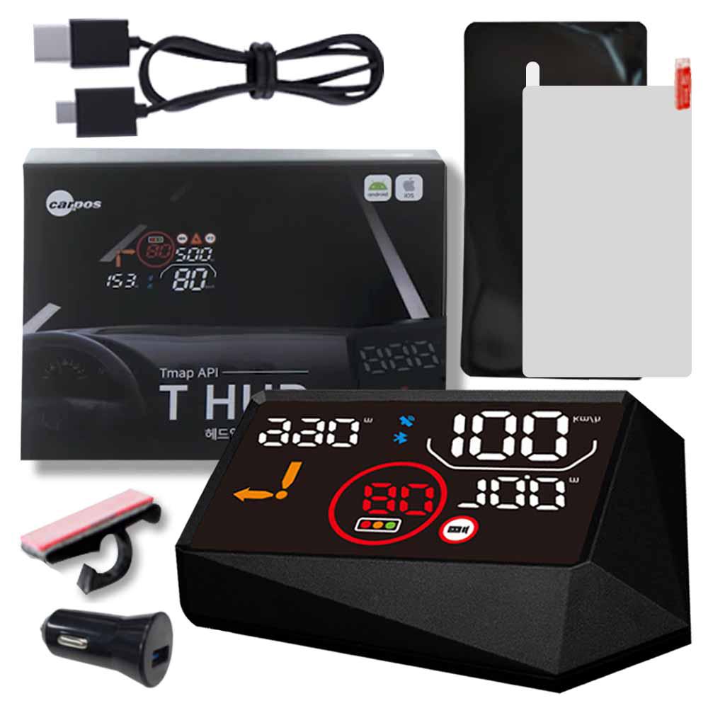 카포스 티허드 자동차 헤드 업 디스플레이 T202 본체 + 고정클립 + 젤패드 + 반사필름 + USB 전원 케이블 + 시가잭 + 사용설명서, 1세트