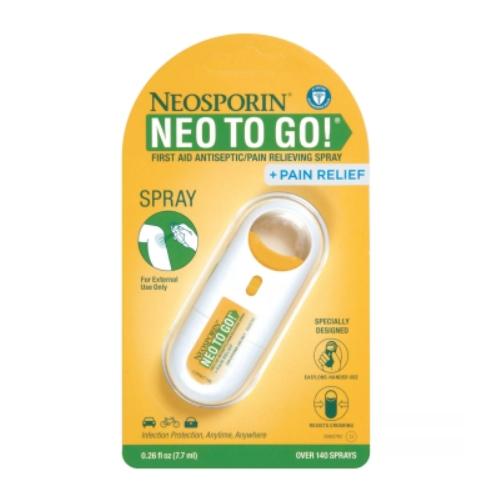 네오스포린 네오 투 고 스프레이 7.7ml Neosporin First Aid Antiseptic and Pain Relieving Spray 0.26oz, Neosporin Neo To Go 7.7ml (POP 5341519921)