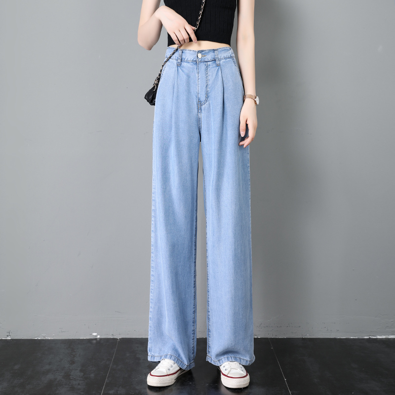나래쇼핑몰 맥시 드레이프 팬츠 텐셀 청바지 여성 여름 얇은 하이웨스트 와이드 루즈핏 슬림핏 드롭 에어매쉬 경량 스트레이트핏
