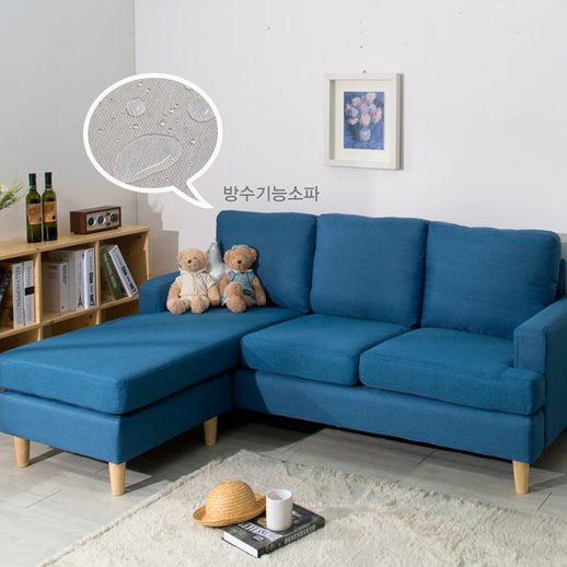 에보니아 제니 카우치3인 패브릭소파/카우치형소파, 블루
