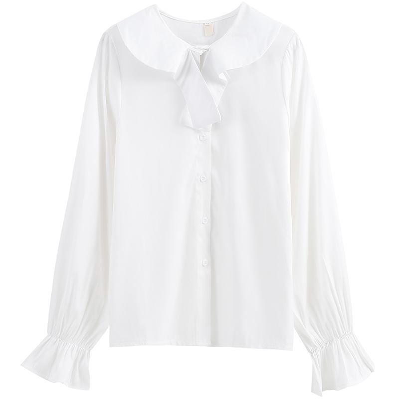 라우렌 긴팔 이너셔츠 KAKD 흰색와이셔츠 디자인 감각 보이핏 볼륨 겹치다 입다 이너티셔츠 봄옷 소매