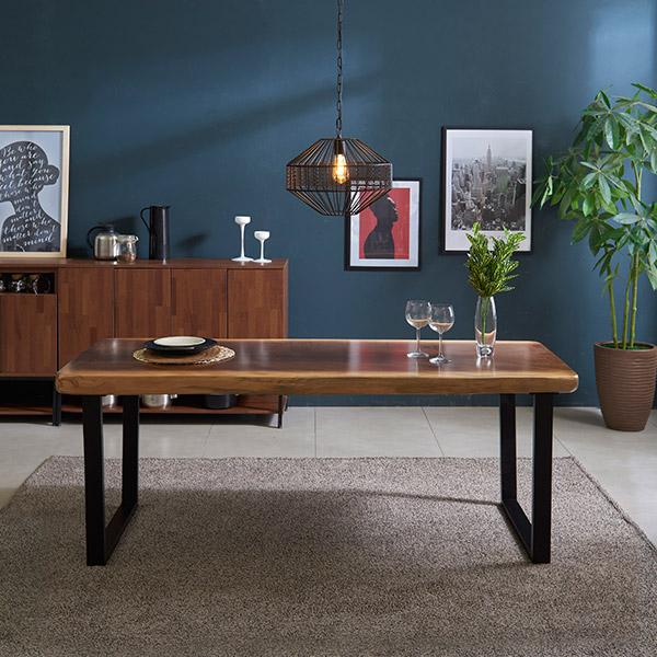 삼익가구 캘빈 우드슬랩 1800 통원목 식탁 테이블, 투톤