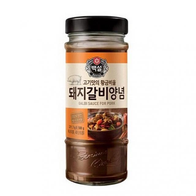 디자인그룹 티에스 CJ 백설 돼지갈비양념 500g 12개 불고기 갈비양념, 1