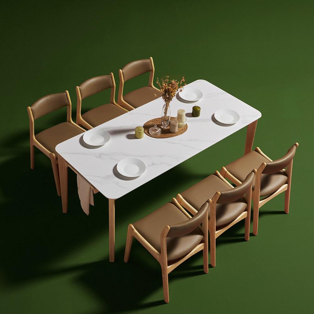 보니애가구 고메즈 천연 포셀린 통세라믹 12T 6인 식탁세트, 6인 테이블단품, 월넛