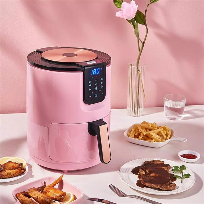 3.5L 가정용 에어프라이어 소형 튀김기 프라이기 주방가전 조리도구 에어프라이기 생활가전, 분홍