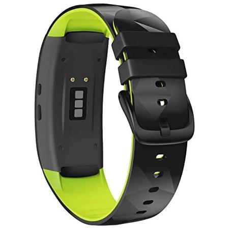 갤럭시 기어핏2 핏2프로 실리콘 스트랩 밴드 W232 스몰 NotoCity Compatible with Samsung Gear Fit2 Pro, One Color_Black-Green, One Color_Black-Green, One Color
