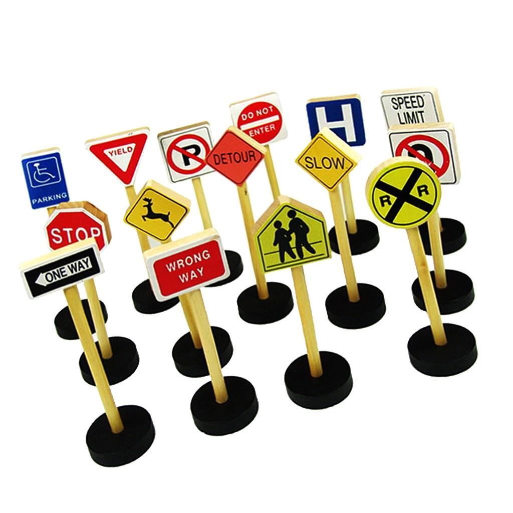 FWT 새로운 15pcs 미니 교통 도로 표지판 나무 놀이 세트 어린이 교육 장난감