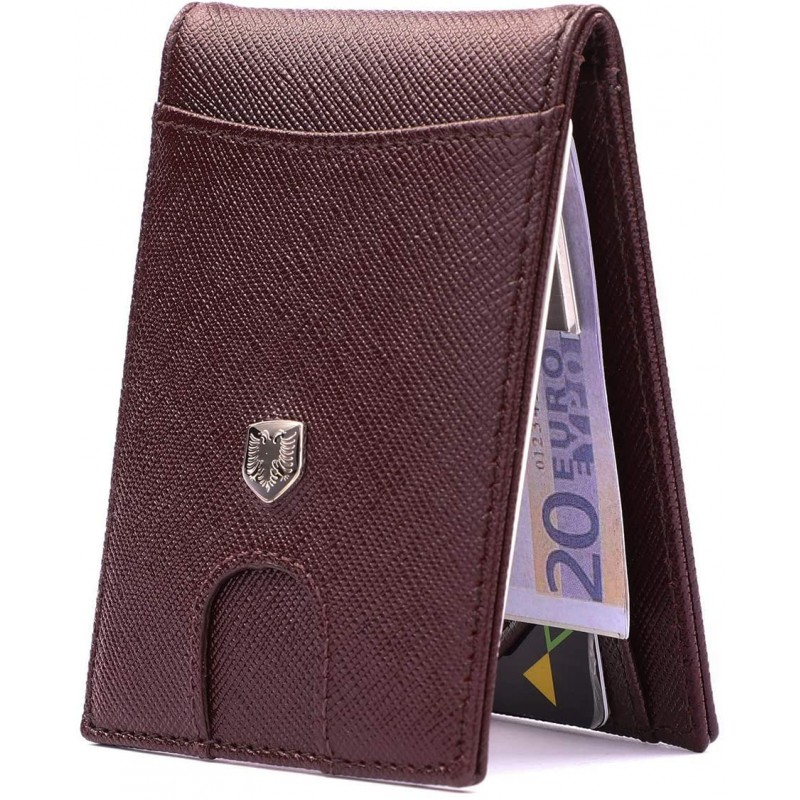 CHANEL 머니 클립 가죽 지갑-남성용 지갑 슬림 프론트 포켓 RFID 차단 정품 가죽 카드 홀더 미니멀리스트